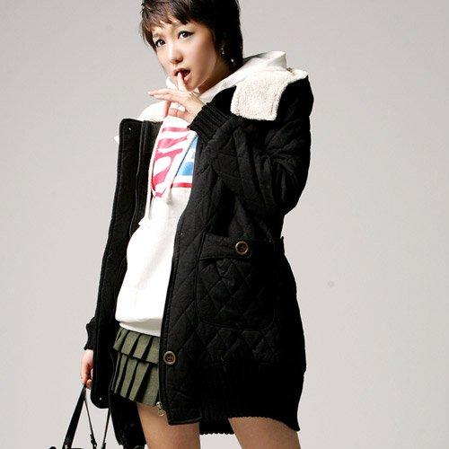 Korean Fashion Wholesale [C2-8007] High-class & Luxurious & Warm Thick Cotton Hooded Coat - size L