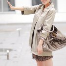 Korean Fashion Wholesale [C2-6089] Pretty & Decent Korean Windbreaker Light Coat -beige-Size M