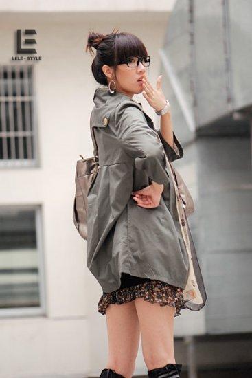 Korean Fashion Wholesale [C2-6089] Pretty & Decent Korean Windbreaker Light Coat -olive-Size L