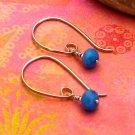 Dark Periwinkle Blue Quartz Sterling Silver Modern Half-Hoop Earrings