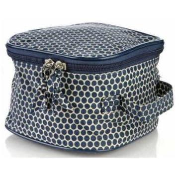 Serious Skin Care Navy Blue Polka Dot Cosmetic Toiletries Bag
