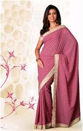 Designer Georgette Saree with Floral two colour print