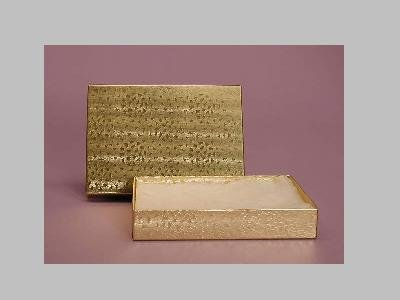 Gold Foil Gift Box for Medium Necklaces, Tennis Bracelets, Larger Earrings