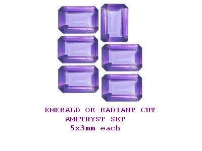 Amethyst Emerald or Radiant Cut Gemstones 6 Set of 5x3mm each