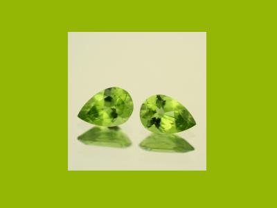 Set of 2 Peridot 10x7mm Pear Cut Loose Gemstones