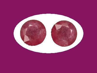 Pair of Rubies 9mm Round Cut Loose Gemstones