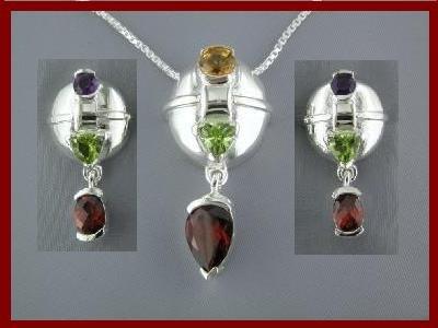 1704-1500 NEW Multi-gem Sterling Silver Earrings & Necklace Set