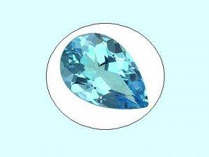 Swiss Blue Topaz 12x8mm 3.58ct Pear Cut Loose Gemstone