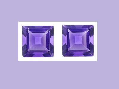 Amethyst Pair 8x8mm Princess Cut Loose Gemstone