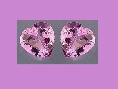 Amethyst Pair 4ctw. 9x9mm Heart Cut Loose Gemstones