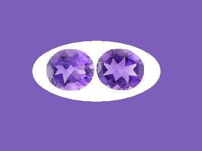 Pair of 10x8mm Amethyst Oval Cut Loose Gemstones