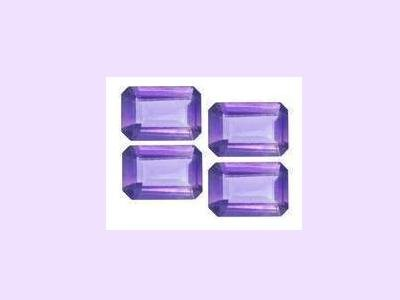 Set of 4 Amethyst 5ctw 6x4mm Emerald, Oblong, or Radiant Cut Loose Gemstones
