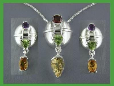 NEW Multi-gem Sterling Silver Earrings & Necklace Set