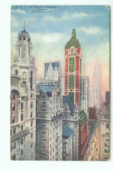73605 NY New York City Postcard World's Highest Towers