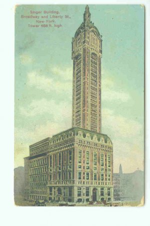 73614 NY New York City Singer Building 1909 Postcard