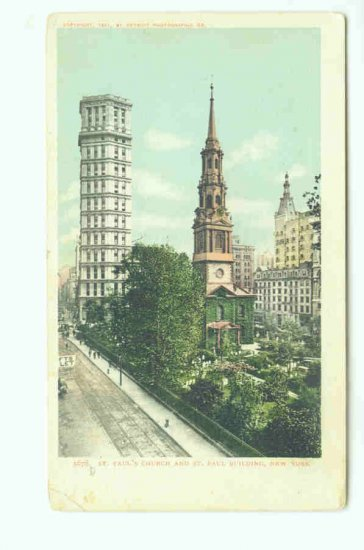 73624 NY New York City Vintage Postcard St. Paul's Church