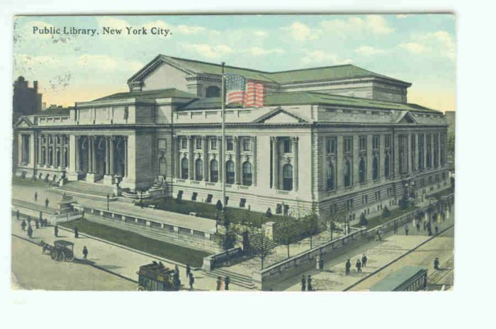 NY New York City Vintage Postcard Public Library 1913