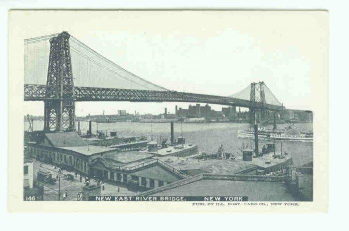 73631 NY New York City Vintage Postcard East River Bridge