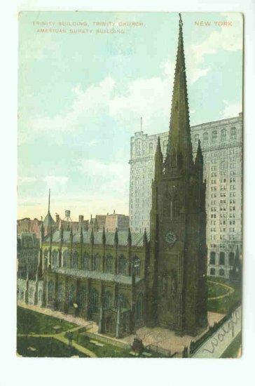 73638 NY New York City Vintage Postcard Trinity Church 1910