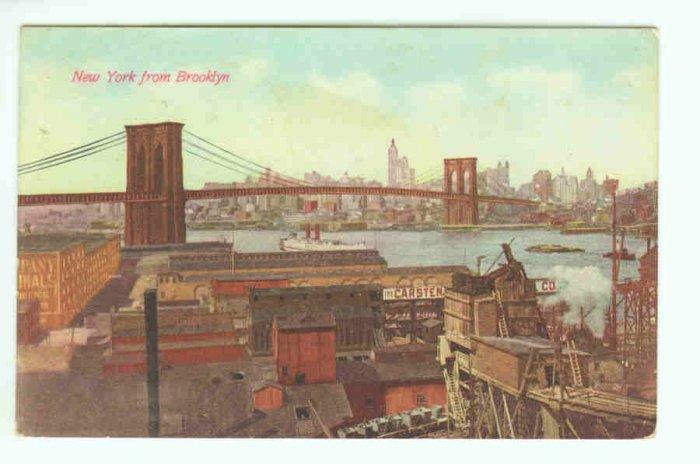 73643 NY New York City Vintage Postcard from Brooklyn Bridge