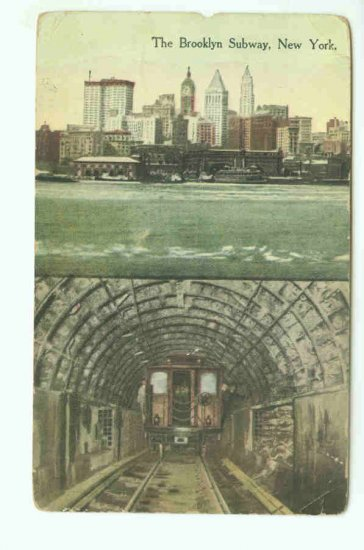 73647 NY New York City Vintage Postcard Brooklyn Subway