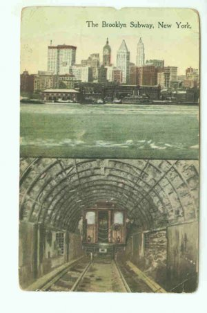 73647 NY New York City Vintage Postcard Brooklyn Subway