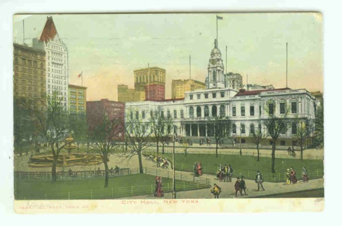 73650 NY New York City Vintage Postcard City Hall 1906 view