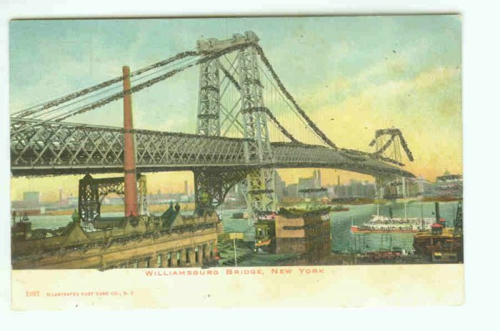 73652 NY New York City Vintage Postcard  Williamsburg Bridge  1906 Era