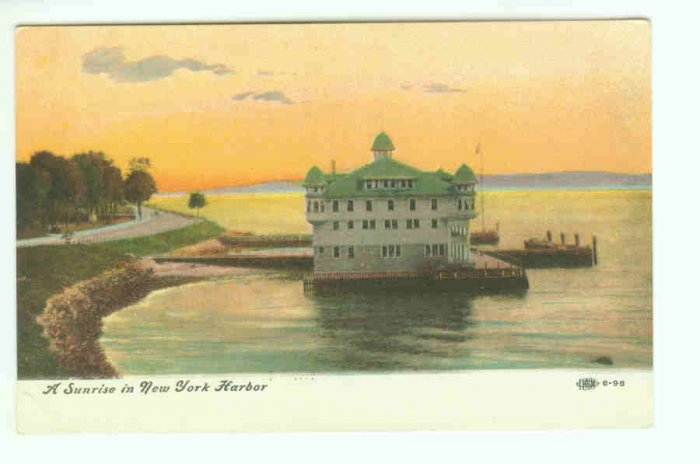 73664 NY New York City Vintage Postcard  Sunrise in New York Harbor