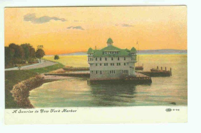 73664 NY New York City Vintage Postcard  Sunrise in New York Harbor
