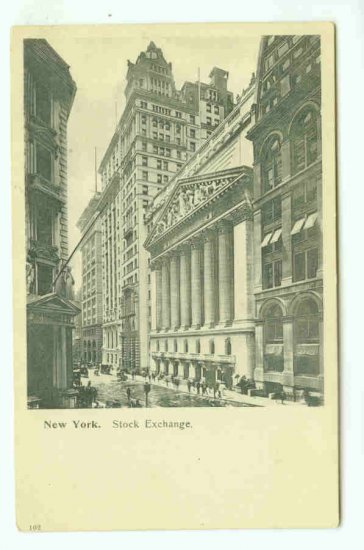 73668 NY New York City Vintage Postcard  Stock Exchange Wall Street