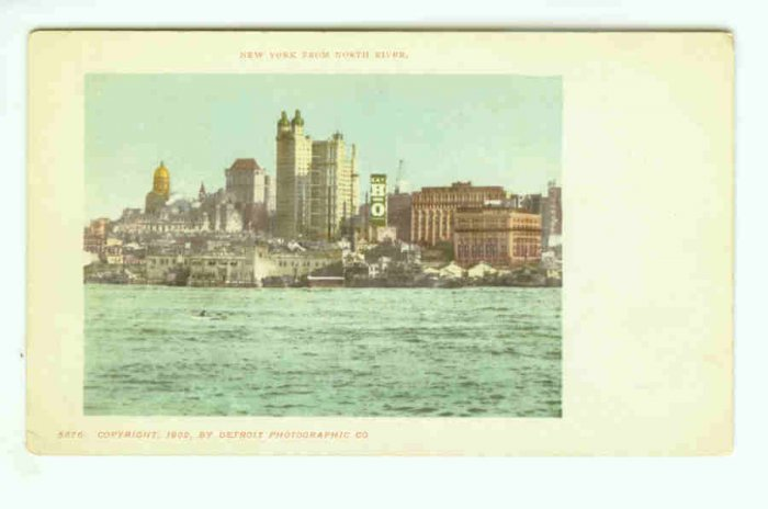 73672 NY New York City Vintage Postcard View at North River 1902