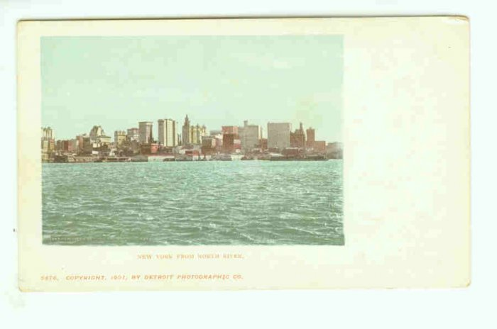 NY New York City Vintage Postcard  From North River 1901