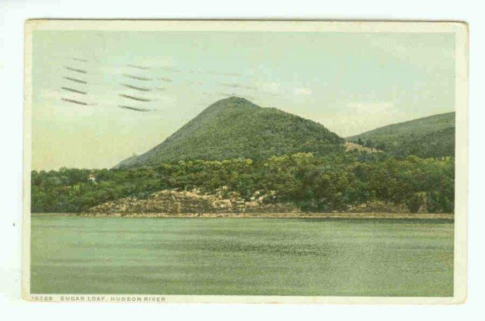 NY New York City Vintage Postcard Sugarloaf Hudson River