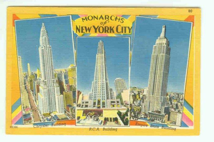 73680 NY New York City Vintage Postcard Monarchs Skyscraper Linen