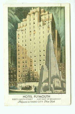 73682 NY New York City Vintage Postcard Hotel Plymouth 1943