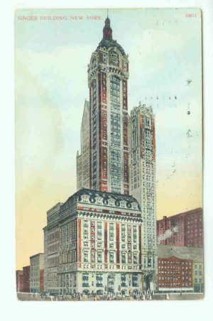73683 NY New York City Vintage Postcard Singer Building 1909