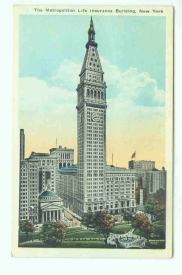 73687 NY New York City Vintage Postcard Metropolitan Life Insurance Building