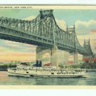 73697 NY New York City Vintage Postcard Steamer Richard Peck Queensboro Bridge