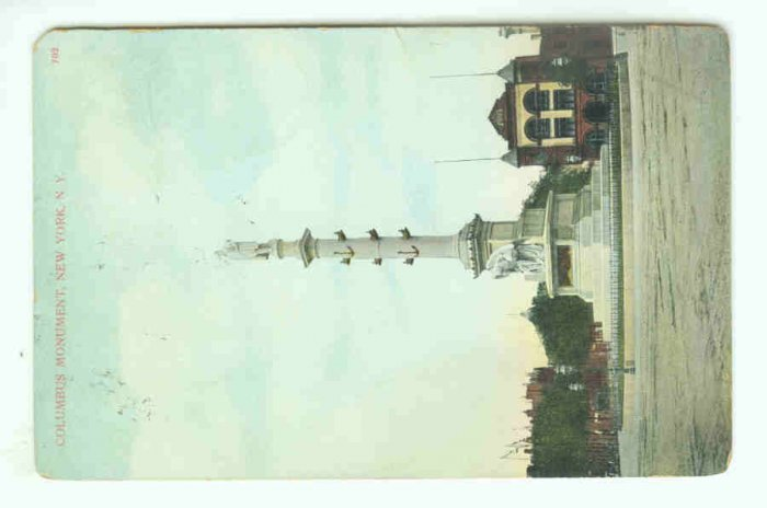 73698 NY New York City Vintage Postcard Columbus Monument 1911