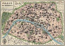 Vintage Paris Poster  Map Cavallini & Co. 20 x 28 Wrap Paper