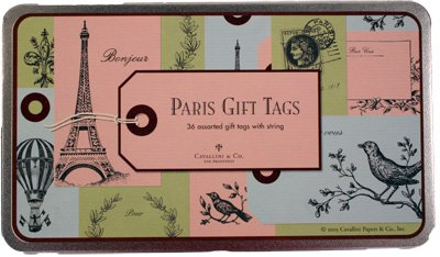 Cavallini & Co. Vintage Paris Gift Tags set of 36 in tin