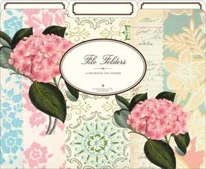 Cavallini File Folders Pink Hydranga