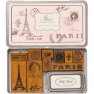 Paris Ruber Stamp Set in a Tin by Cavallini & Co. Wood Mounted Stamps