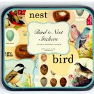 Birds & Nest Vintage Decorative Labels Stickers in Tin Cavallini Papers 24-26 sheets100+