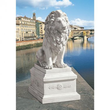 S/ LION OF FLORENCE W/ BASE DESIGN TOSCANO Lion lion sculpture Lion Statue