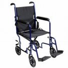"Roscoe KT19BL 19"" Steel Transport Wheelchair Blue"