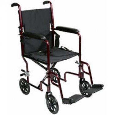 Roscoe, Aluminum Transport Chair, Burgundy