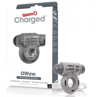 Screaming O Charged OWow Vooom Vibrating Cock Ring - Grey