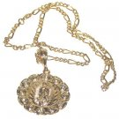 Catholic Christian Virgin Mother Mary Guadaloupe Necklace Pendant. Chain, Gold Tone New